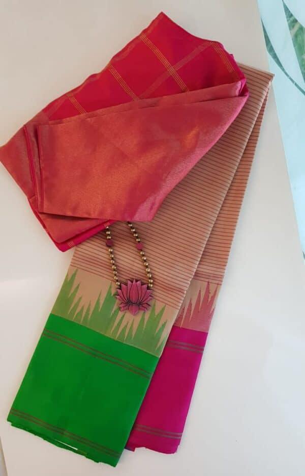 Beige soft silk saree with ganga jamuna border