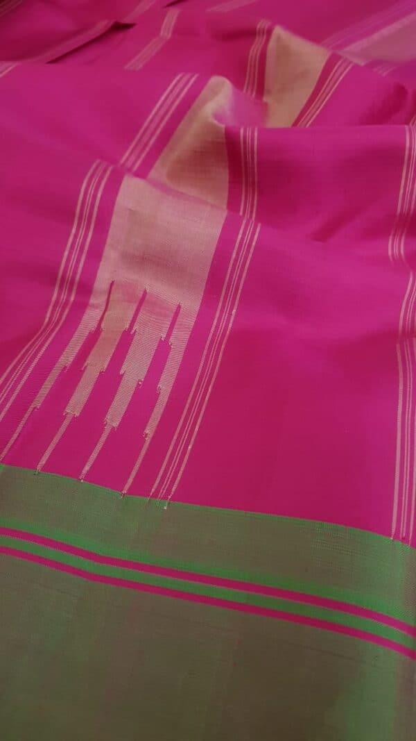 Beige soft silk saree with ganga jamuna border1