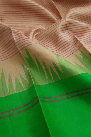 Beige soft silk saree with ganga jamuna border2
