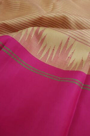 Beige soft silk saree with ganga jamuna border3