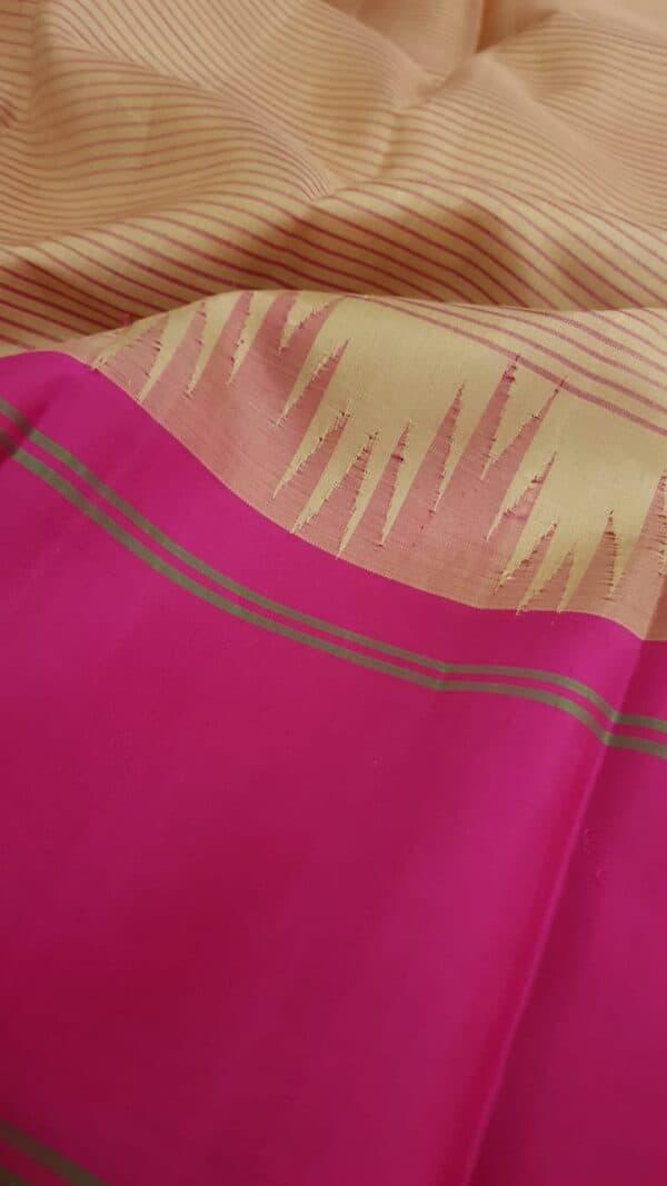 Beige soft silk saree with ganga jamuna border3
