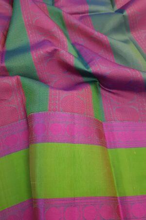 Beige soft silk saree with green border1