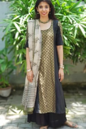 Black chanderi kurta with embroidered panel