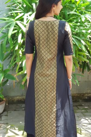 Black chanderi kurta with embroidered panel1