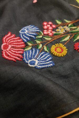 Black embroidered tussar saree1