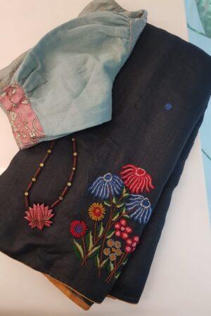 Black embroidered tussar saree2