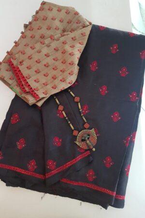 Black hand embroidered tussar saree -