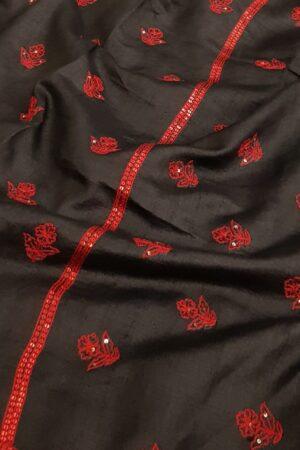 Black hand embroidered tussar saree1 - Copy