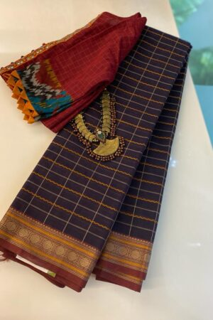 Black kanchi cotton saree with rudraksham border - Copy - Copy