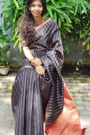 Black kanchipuram silk saree with vangi design