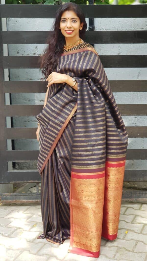 Black kanchipuram silk saree with vangi design1