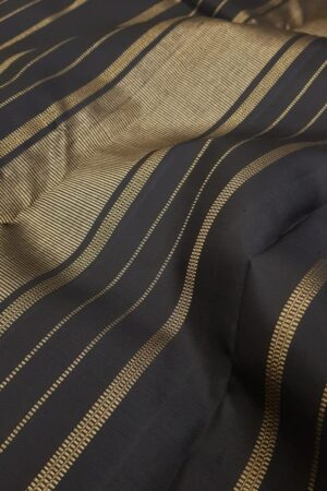 Black kanchipuram silk saree with zari buttis2
