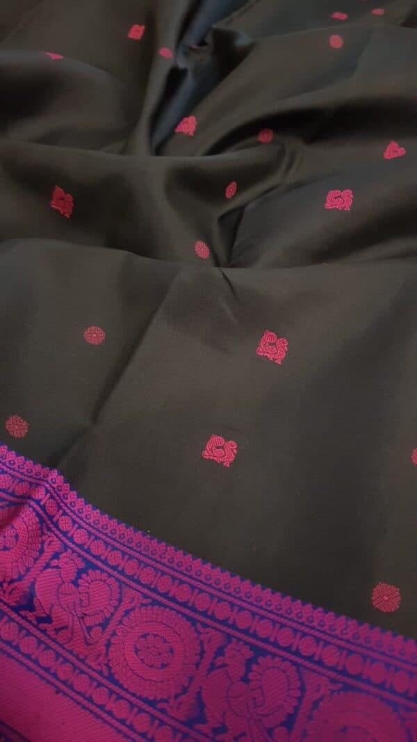 Black soft silk saree with pink buttis