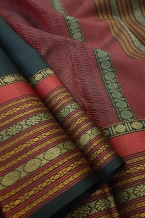 Black soft silk saree with red border3