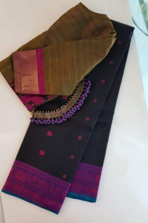 Black soft silk saree with violet border