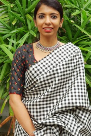 Black tussar embroidered blouse