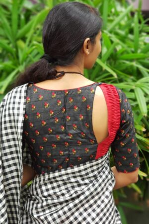 Black tussar embroidered blouse1