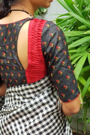 Black tussar embroidered blouse2