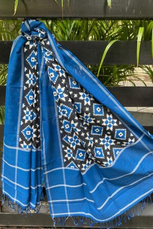 Black , white and blue ikat dupatta