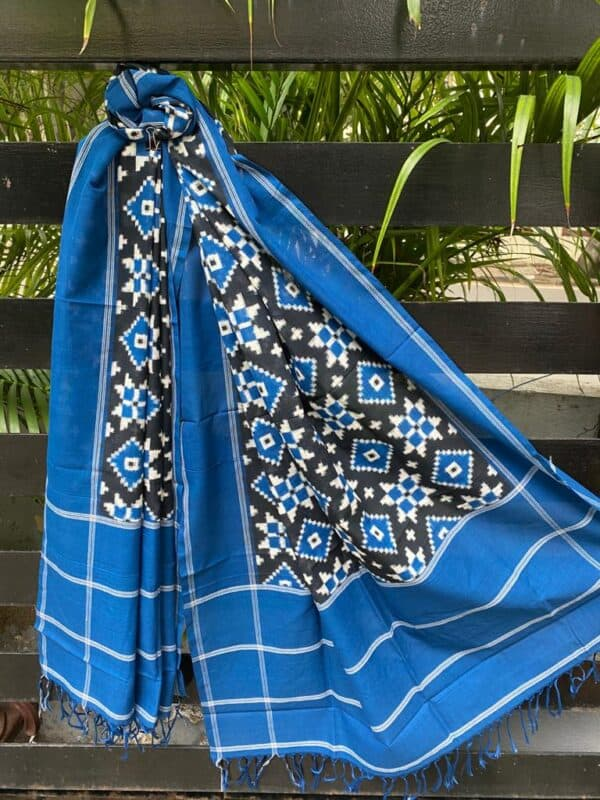 Black , white and blue ikat dupatta