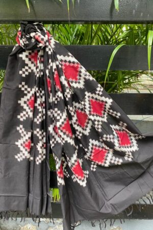 Black white and red ikat dupatta