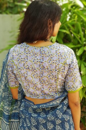 Blue and green printed cotton blouse - Copy