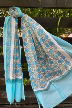 Blue and off white kota dupatta