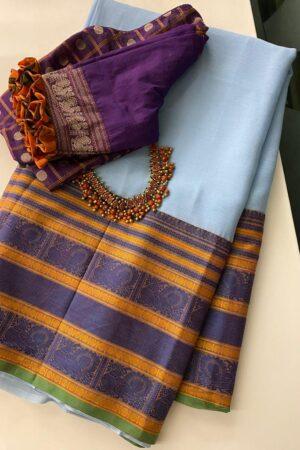 Blue chiffon saree with green kanchi cotton border1