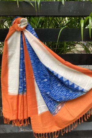 Blue off white and saffron ikat dupatta