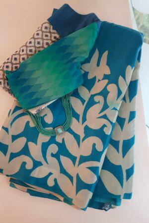 Blue printed tussar saree
