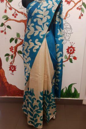 Blue printed tussar saree5