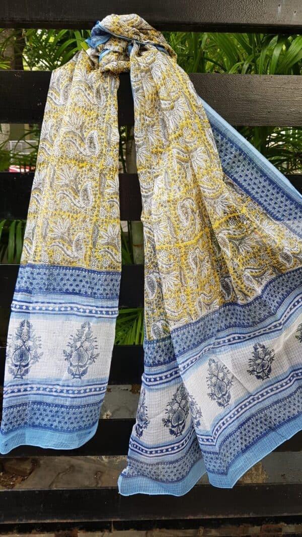 Blue , white and yellow kota dupatta