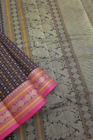Brown kanchi cotton saree with rudraksham border1