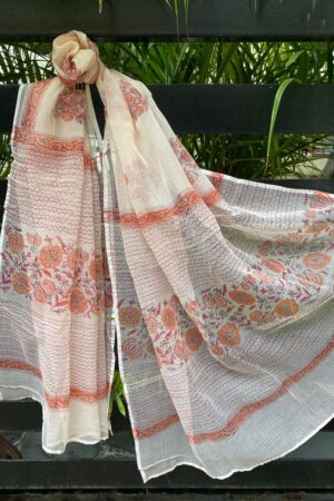 Cream and orange kota dupatta