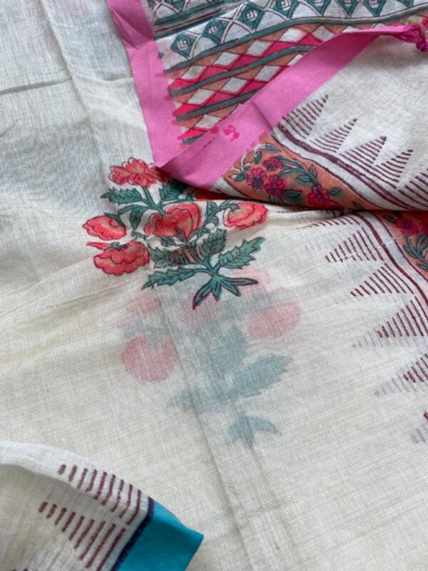 Cream with blue border chanderi dupatta1