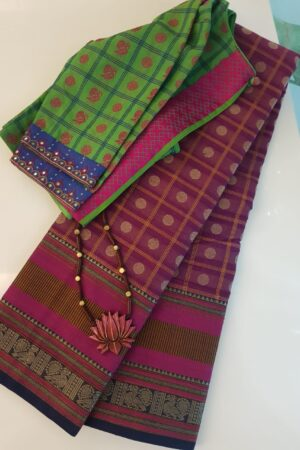 Dark pink kanchi cotton saree with checks and rudraksham - Copy (2)