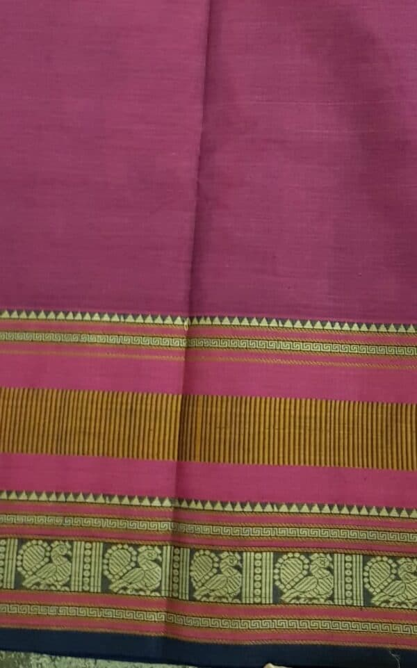 Dark pink kanchi cotton saree with checks and rudraksham2 - Copy - Copy