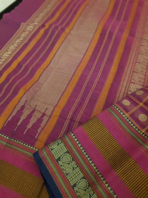 Dark pink kanchi cotton saree with checks and rudraksham3 - Copy (2)