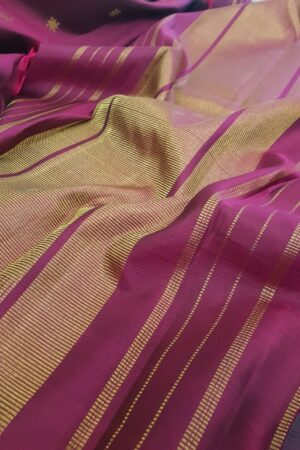 Deep grey kanchipuram silk saree with zari buttis1