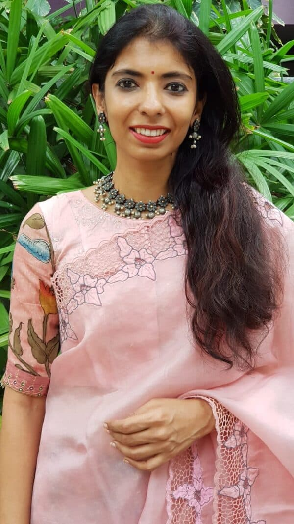 Dusty pink embroidered blouse with kalamkari sleeves