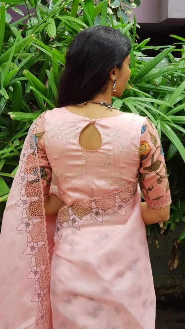 Dusty pink embroidered blouse with kalamkari sleeves1