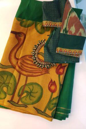 Green and mustard kanchipuram kalamkari cross to cross saree