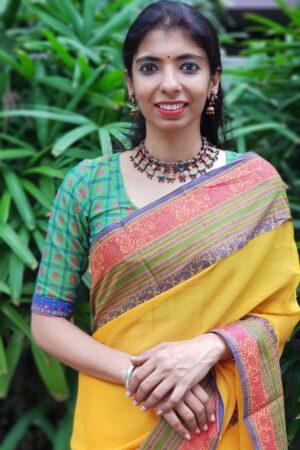 Green kanchi cotton mayil chakram blouse