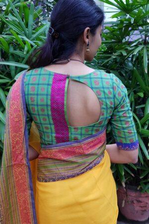 Green kanchi cotton mayil chakram blouse1