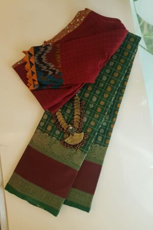 Green kanchi cotton saree with maroon border