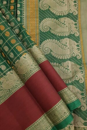 Green kanchi cotton saree with maroon border1