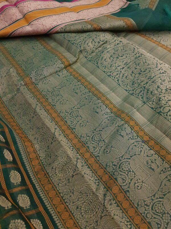 Green kanchi cotton saree with pink selvedge1