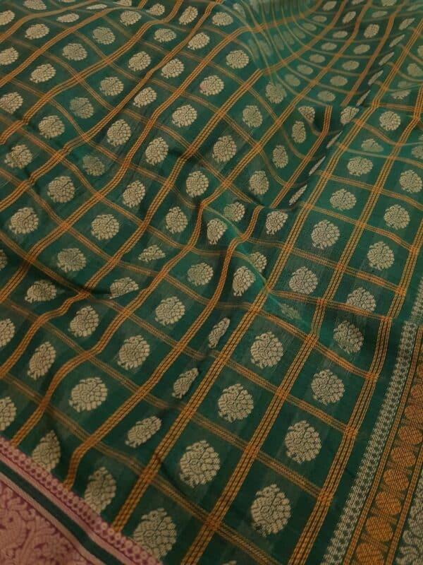 Green kanchi cotton saree with pink selvedge2