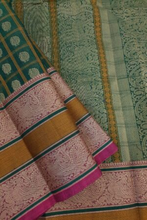 Green kanchi cotton saree with pink selvedge3