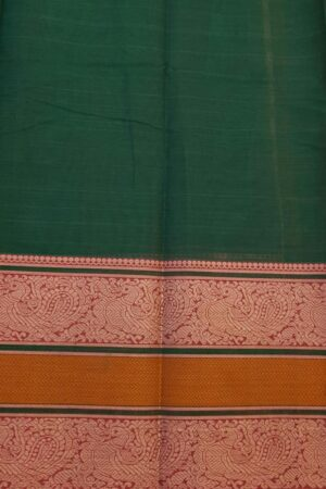 Green kanchi cotton saree with pink selvedge4